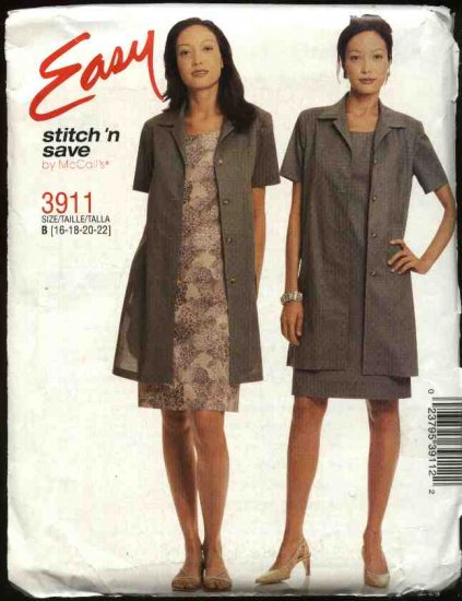 McCall's Sewing Pattern 3911 Misses Size 16-22 Easy Sleeveless Straight  Dress Unlined Duster Jacket