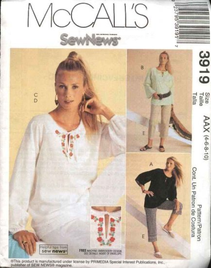 McCall's Sewing Pattern 3919 Misses Size 4-10 Pullover Embroidered Peasant Top Cropped Pants