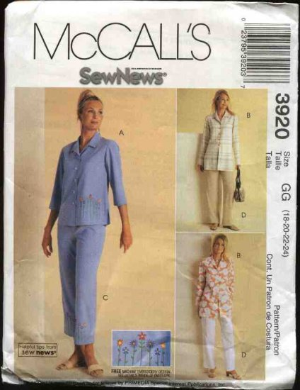 McCall's Sewing Pattern 3920 Misses Size 18-24 Sew News Button Front Shirt Jacket Pants