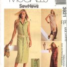 McCall's Sewing Pattern 3921 Misses Size 12-18 Sew News Button Front Sleeveless Dress Pull On Pants