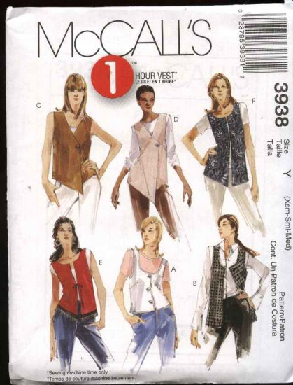 McCall's Sewing Pattern 3938 Misses Size 4-14 Lined Vests Length Closure Neckline Variations