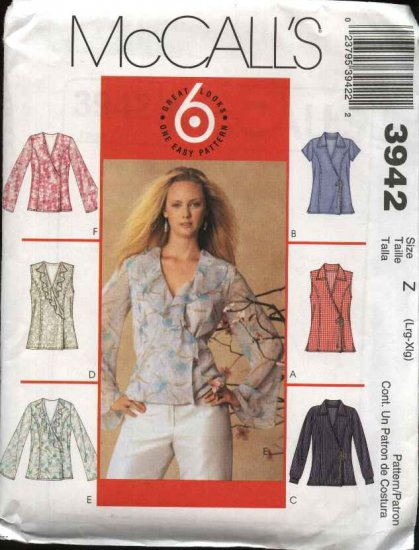 McCall's Sewing Pattern 3942 Misses Size 4-14 Easy Front Wrap Blouse Top Sleeve Collar Variations