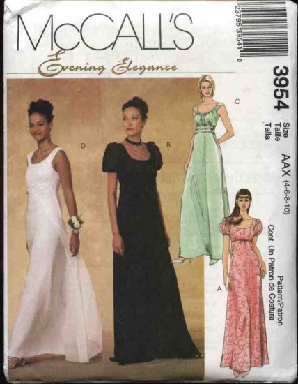 McCall's Sewing Pattern 3954 Misses Size 4-10 Empire Raised Waist Evening Gown Formal Prom Dress