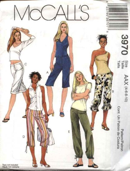 McCall's Sewing Pattern 3970 Misses Size 4-10 Fitted Straight Leg Pants Shorts Capri Cropped