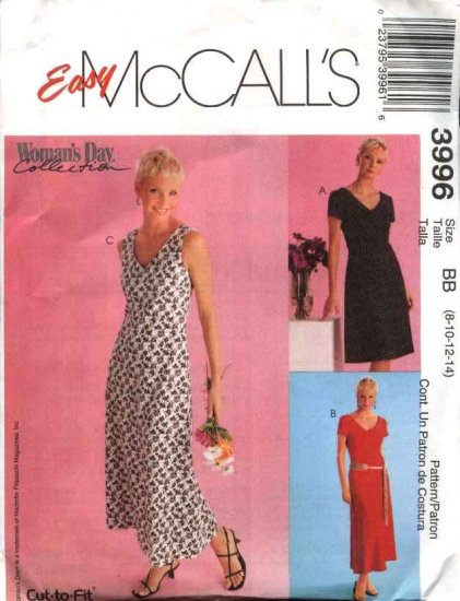 McCall's Sewing Pattern 3996 M3996 Misses Size 8-14 Easy Woman's Day Sleeveless Short Sleeve Dresses