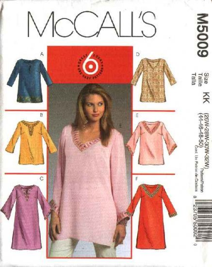 McCall�s Sewing Pattern 5009 Womans Plus Size 26W-32W Easy Pullover Tunics Tops Kurtas