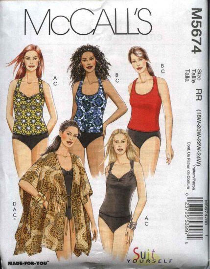 McCall's Sewing Pattern 5674 Womans Plus Size 26W-32W 2-Piece Swimming Bathing Suit Cover-up