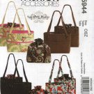 McCall's Sewing Pattern 5944 Fashion Accessories Bags Totes Purses Removable Liners Kay Witt