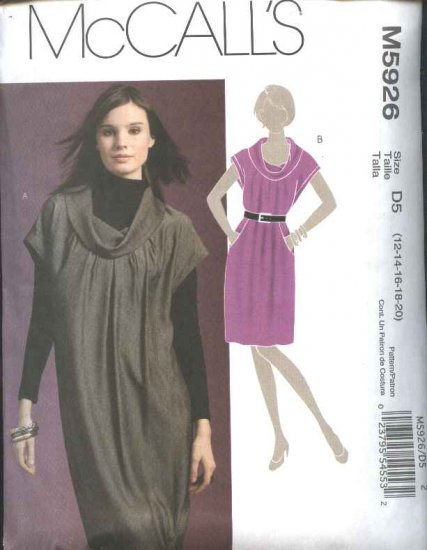 McCall's Sewing Pattern 5926 Misses 12-20 Pullover Loose Fitting Cowl Neck Straight Dress