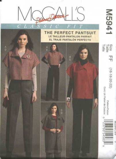 McCall's Sewing Pattern 5941 Misses Size 16-22 Classic Fit Perfect Pantsuit Jacket Pants
