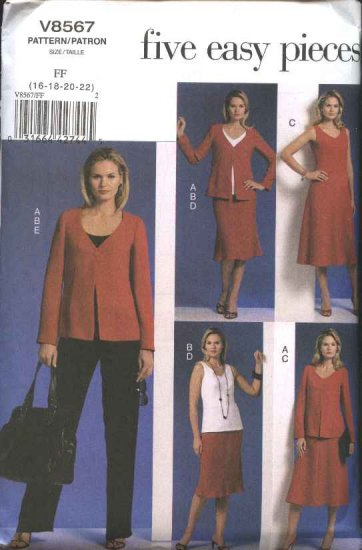 Vogue Sewing Pattern 8567 Misses Size 16-22 Easy Wardrobe jacket Top Dress Skirt Pants