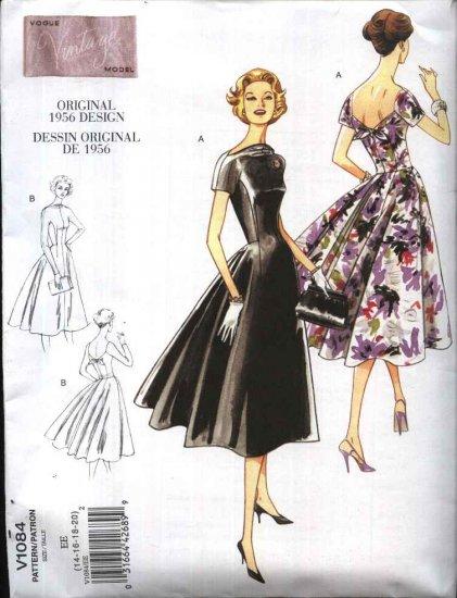 Vogue Sewing Pattern 1084 Misses Size 6-12 Vintage Style 1956 Original Design Semi-Formal Dress