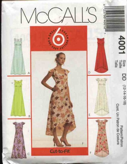 McCall's Sewing Pattern 4001 Misses Size 16-22 Easy Summer Sleeveless Flutter Sleeve Empire Dress