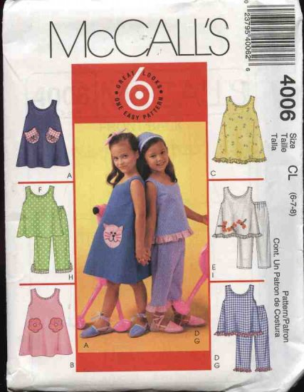 McCall's Sewing Pattern 4006 Girl's Size 6-7-8 Easy Sleeveless Summer Pullover Dress Top Pants
