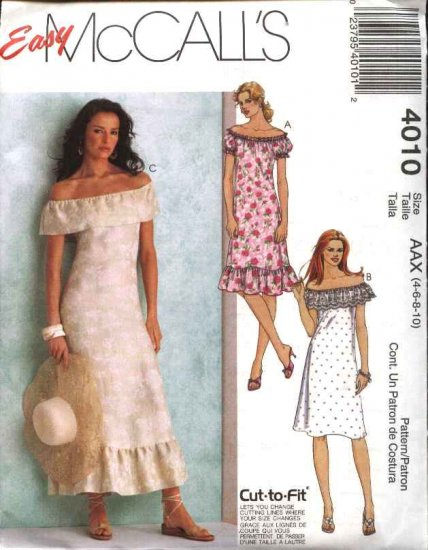 McCall's Sewing Pattern 4010 Misses Size 4-10 Easy Long Short Off the Shoulder Summer A-Line Dress