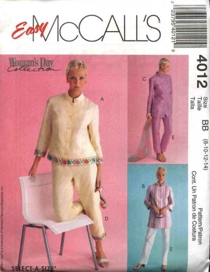 McCall's Sewing Pattern 4012 Misses Size 8-14 Easy Woman's Day Collection Button Front Tops Pants