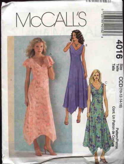 McCall's Sewing Pattern 4016 Misses Size 10-16 Princess Seam Handkerchief Hemline Dresses