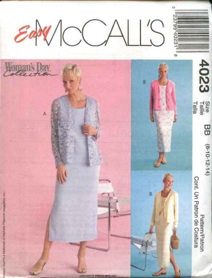 McCall's Sewing Pattern 4023 Misses Size 8-14 Easy  Straight Sleeveless Dress Knit Cardigan