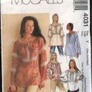 McCall's Sewing Pattern 4031 M4031 Misses Size 4-14 Pullover Loose Fitting Peasant Style Tops