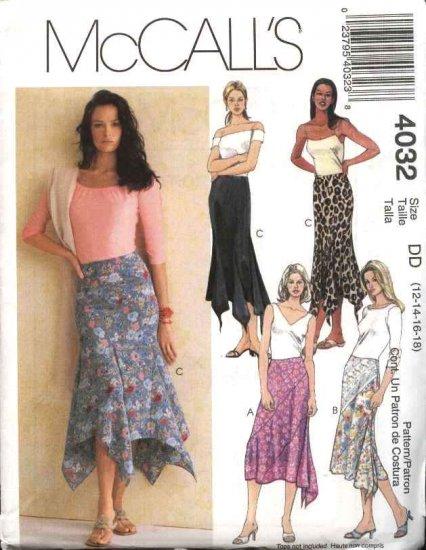 McCall's Sewing Pattern 4032 Misses Size 4-10 Asymmetrical Handkerchief Hemline Skirts