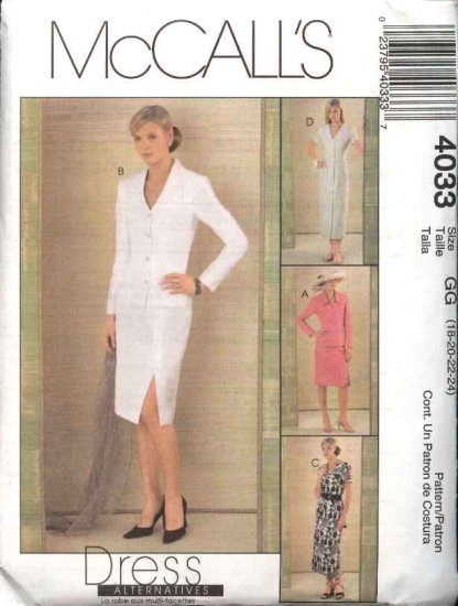 McCall's Sewing Pattern 4033 M4033 Misses Size 10-16 Button Front Jackets Straight Dresses Skirt