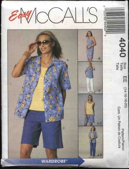 McCall's Sewing Pattern 4040 Misses Size 18-24 Easy Summer Wardrobe Shirt Top Dress Shorts Pants