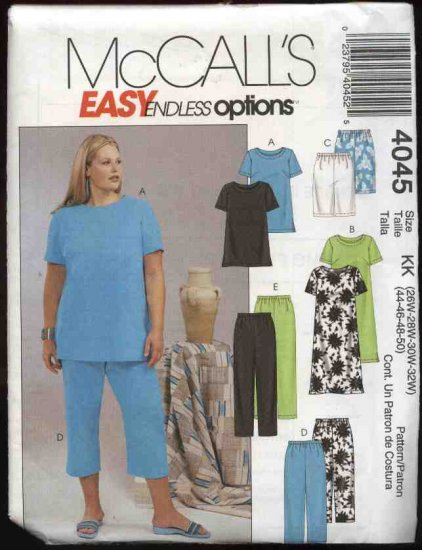 McCall�s Sewing Pattern 4045 Womans Plus Size 18W-24W Easy Wardrobe Top Dress Shorts Pants