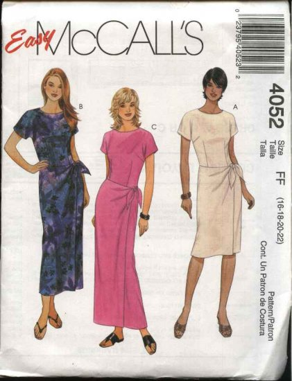 McCall's Sewing Pattern 4052 Misses Size 8-14 Easy Short Sleeeve Straight Dress Mock Front Wrap