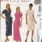 McCall's Sewing Pattern 4052 Misses Size 16-22 Easy Short Sleeeve Straight Dress Mock Front Wrap