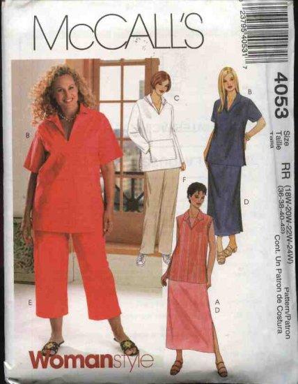McCall's Sewing Pattern 4053 Womans Plus Size 18W-24W Wardrobe Top Skirt Pants