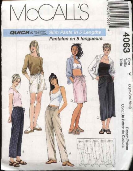 McCall's Sewing Pattern 4063 M4063 Misses Size 4-14 Easy Drawstring Cropped Long Pants Shorts
