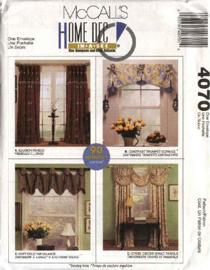McCall's Sewing Pattern 4070 Swag Cornice Valance Curtains Home Decoration Panels