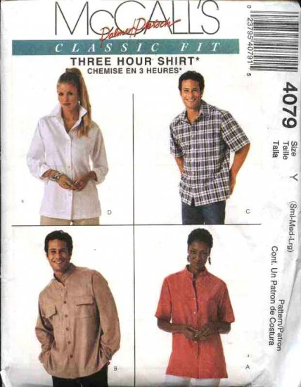 "McCall's Sewing Pattern 4079 Misses Mens Unisex Chest Size 42-48"" Classic Fit Button Front Shirt"
