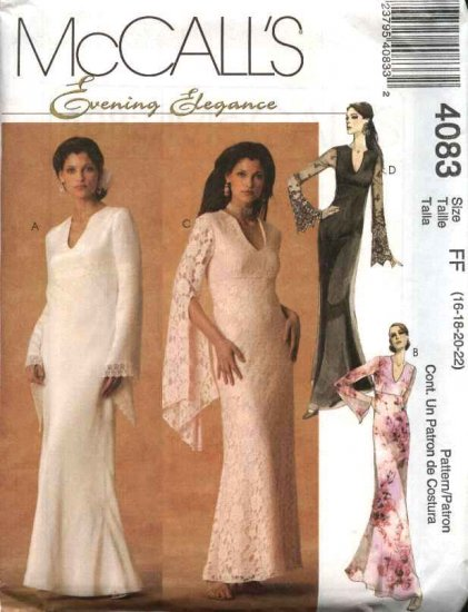 McCall's Sewing Pattern 4083 Misses Size 6-12 Formal Evening Prom Dress Gown Empire Waist