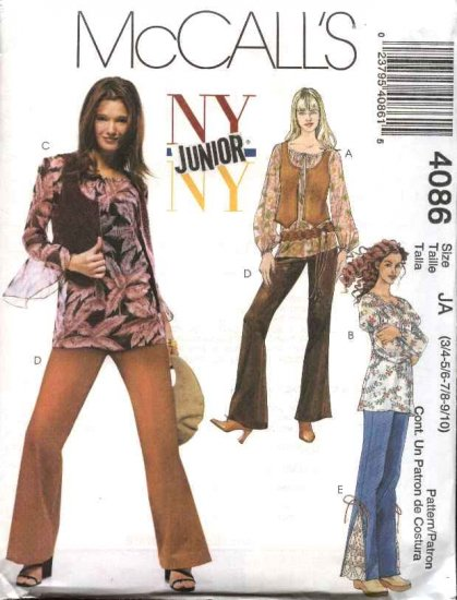 McCall's Sewing Pattern 4086 Junior Size 3/4-9/10 NYNY Peasant Tops Lined Vest Bell Bottom Pants