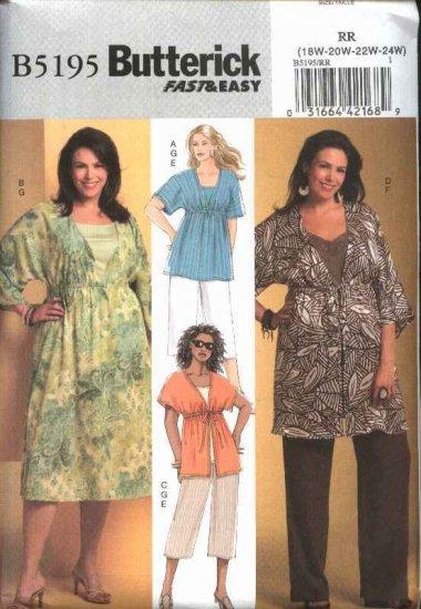 Butterick Sewing Pattern 5195 Womans Plus Size 26W-32W Easy Top Dress Tunic Pants Knit Tank Top