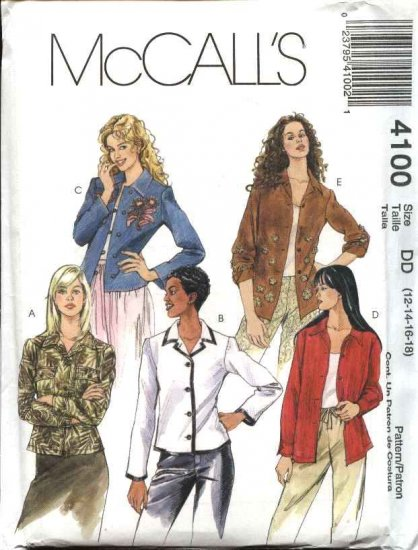 McCall's Sewing Pattern 4100 Misses Size 12-18 Button Front Unlined Long Sleeve Jacket