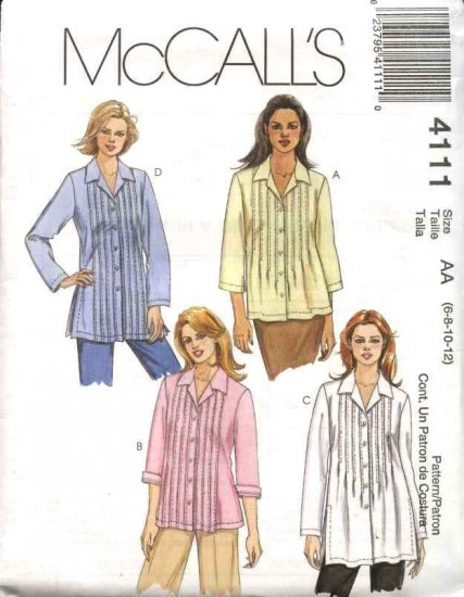 McCall's Sewing Pattern 4111 Misses Size 12-18 Pintucked Bodice Button Front Shirt Tunic