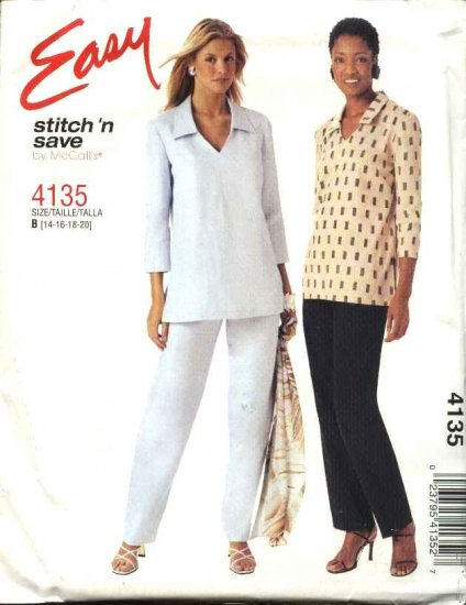 McCall's Sewing Pattern 4135 Misses Size 6-12 Easy Pullover Long Sleeve Top Pull-On Pants