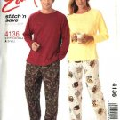"McCall's Sewing Pattern 4136 M4136 Misses Mens Unisex Chest Size 31 1/2 - 40"" Tops Pants Pajamas"