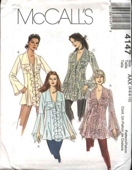 McCall's Sewing Pattern 4147 Misses Size 4-10 Button Front Tops Tunics Flounces Blouse