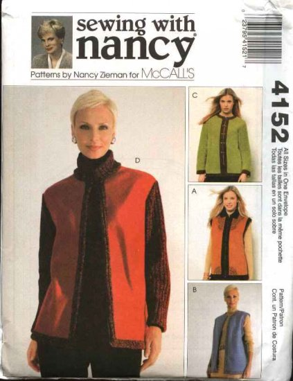 McCall's Sewing Pattern 4152 Misses Size 8-22 Sewing With Nancy Fleece Unlined Vest Jacket