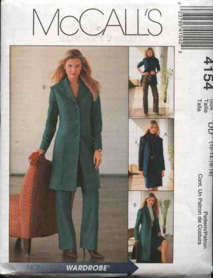 McCall's Sewing Pattern 4154 Misses Size 12-18 Wardrobe Jacket Duster Straight Skirt Pants