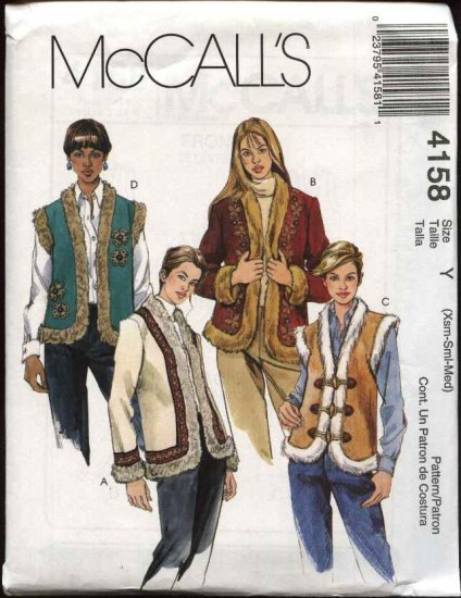 McCall's Sewing Pattern 4158 M4158 Misses Size 4-14 Lined Fur Trimmed Appliqued Vest Jackets