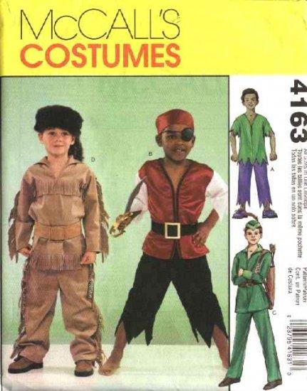 McCall's Sewing Pattern 4163 Boys Size 3-8 Costumes Robin Hood Pirate Mountain Man Hulk