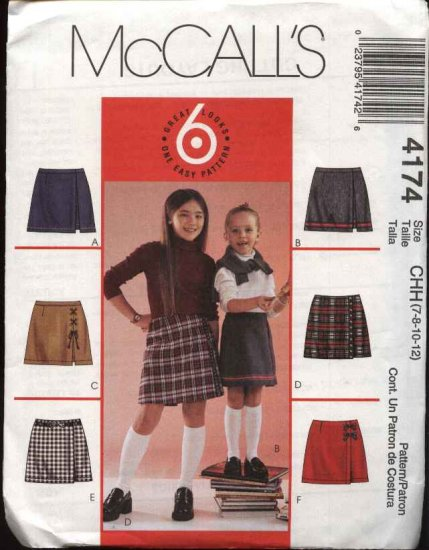 McCall's Sewing Pattern 4174 M4174 Girls' Size 7-12 Easy Mock Wrap Front Pull On Skorts