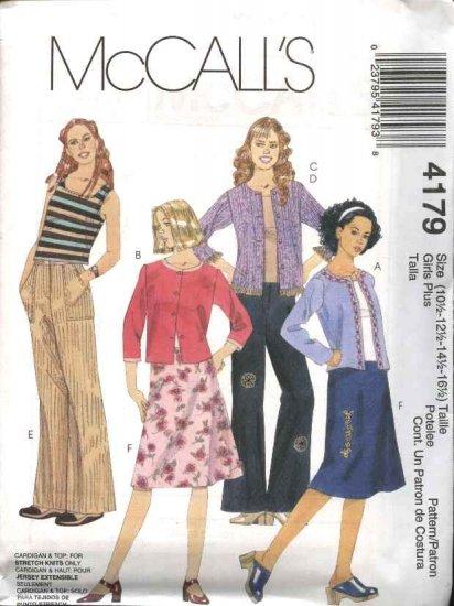McCall's Sewing Pattern 4179 Girls Size 7-8-10 Wardrobe Knit Cardigan Top Pants Skirt
