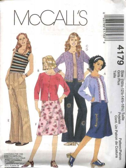 McCall's Sewing Pattern 4179 Girls Plus Size 10 1/2 - 16 1/2 Wardrobe Knit Cardigan Top Pants Skirt