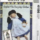 McCall's Sewing Pattern M4186 4186 Sophie Rag Doll Clothes Dress Pinafore Playmate Pocket Doll