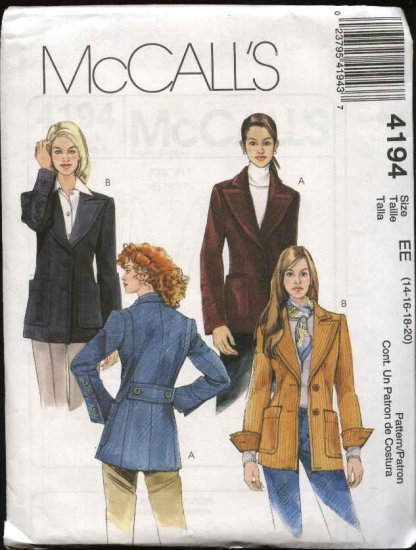 McCall's Sewing Pattern 4194 Misses Size 14-20 Lined Button Front Wide Lapel Jackets